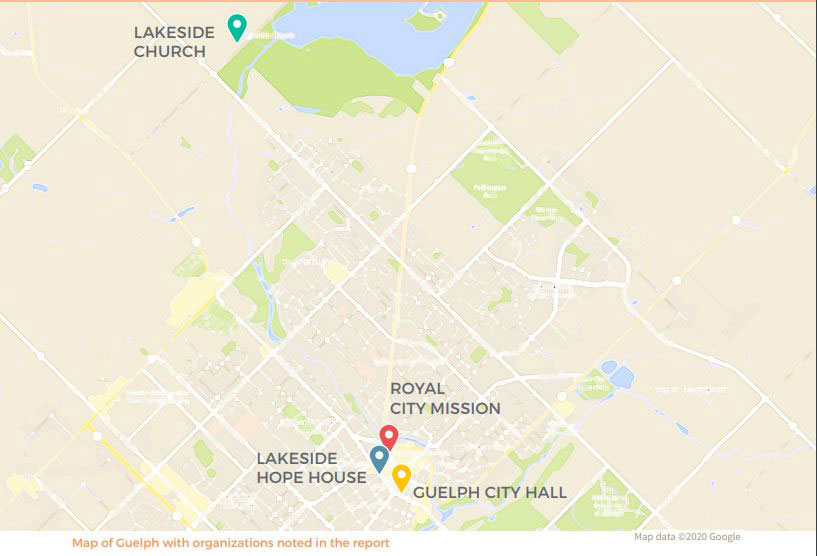 Map of Guelph with organizations noted in the report