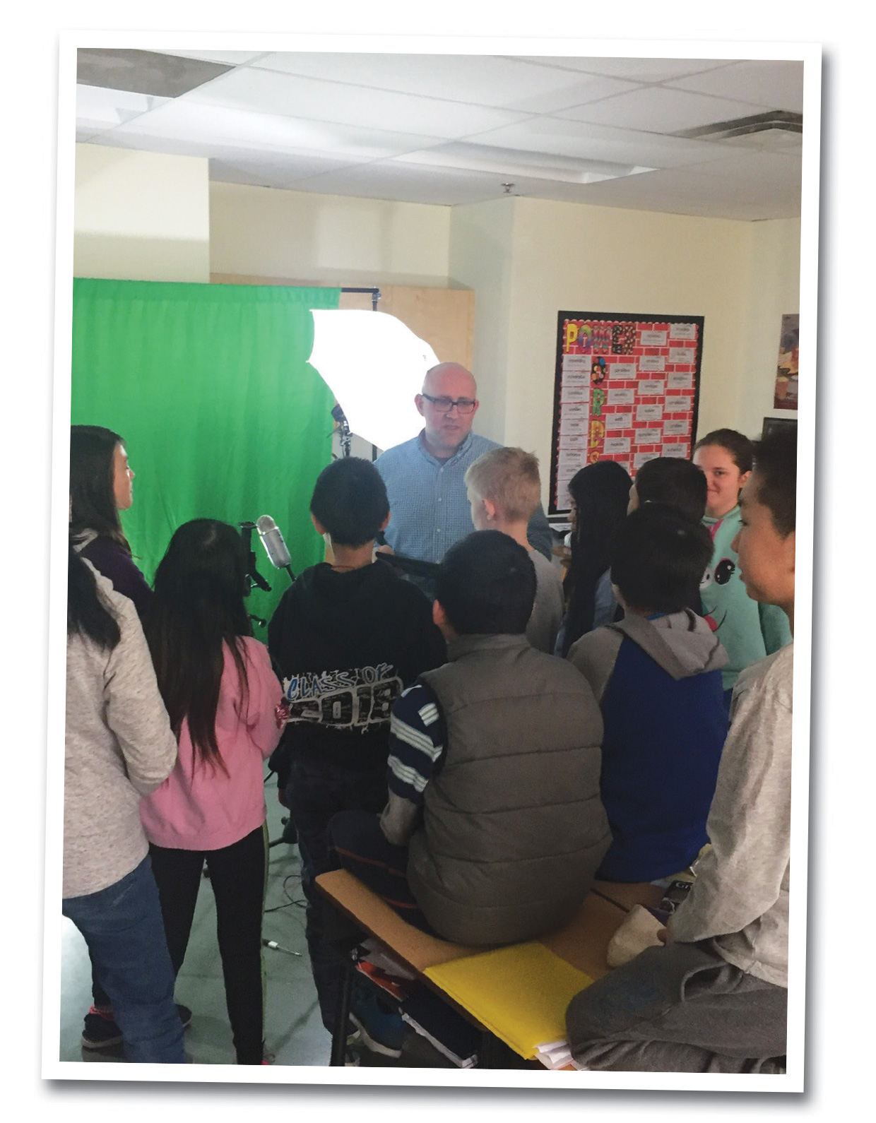 John Knox students learn about digital media and video editing.