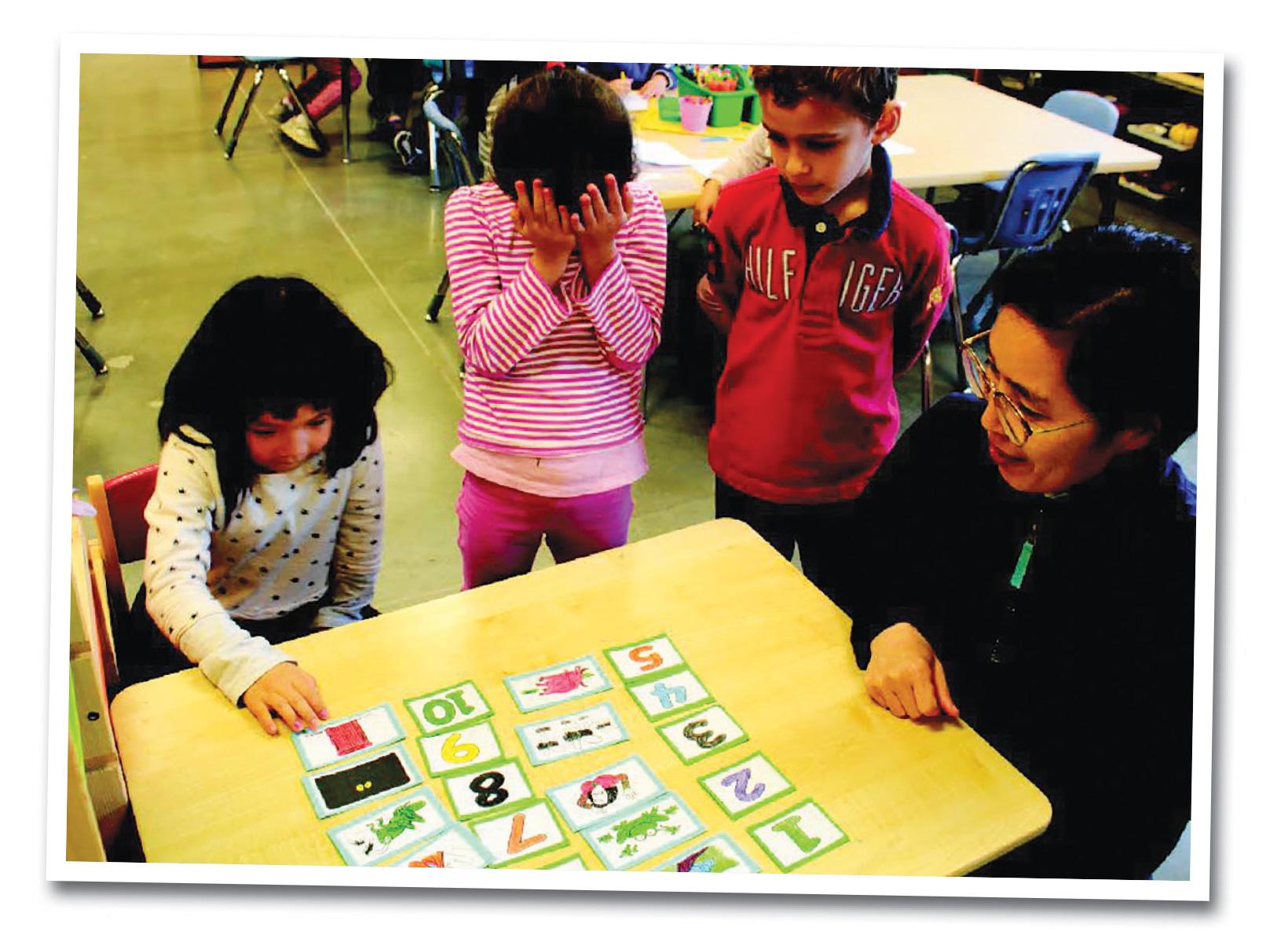 Learning coding basics in kindergarten.