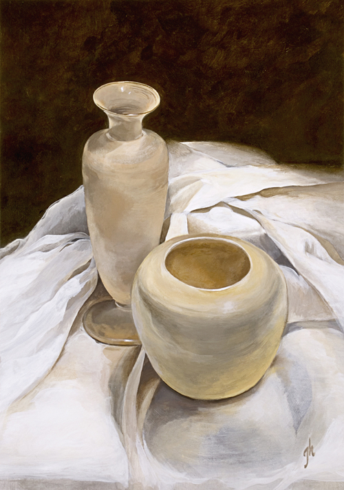 Two Vases in White
