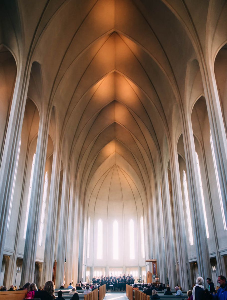 Choir sings in cathedral