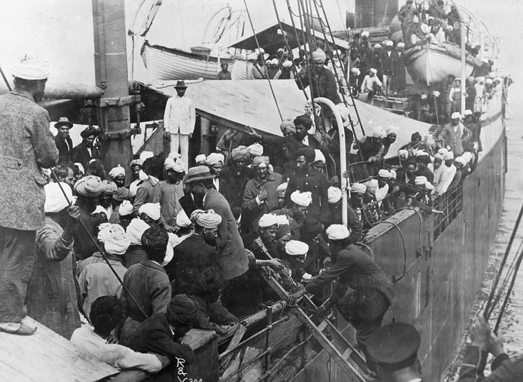 "Sikhs on board the ""Komogata Maru"" in English Bay, Vancouver, British Columbia, Canada. 1914"